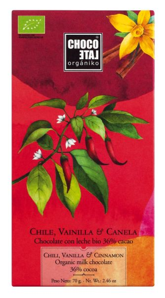Bio Milk Chocolate 46 % Cocoa Chili-Vanilla-Cinnamon