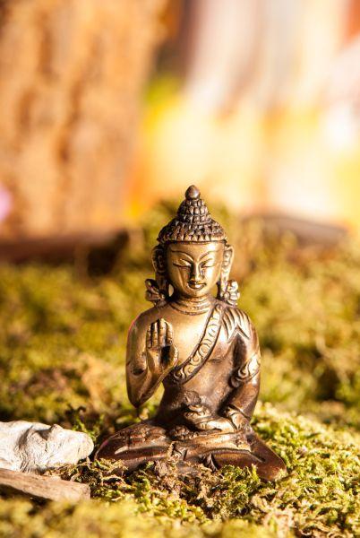 Amoghasiddhi Buddha, Messing, 8 cm