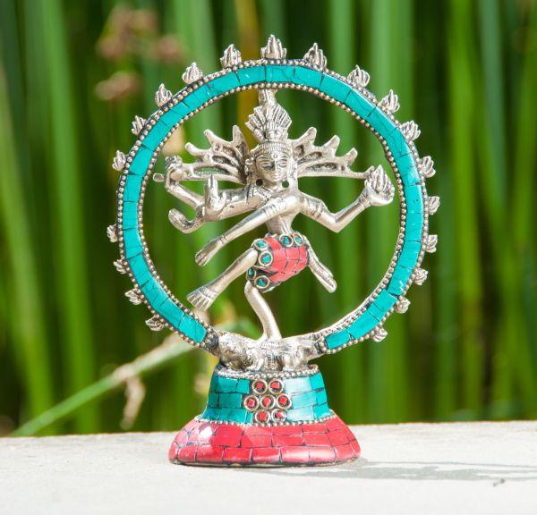 Shiva Nataraj, Messing versilbert, 14 cm
