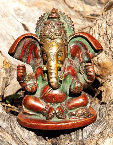 Ganesha, Messing rot, 10 cm