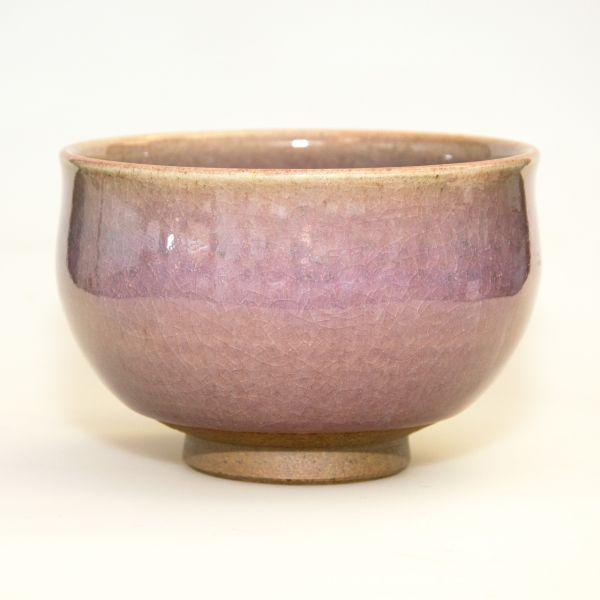 Narieda Matchaschale - hell rötlich mit gebrochener Glasur (handgemacht / Japan)