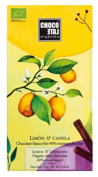 Bio White Chocolate 40 % Cocoa Lemon + Cinnamon