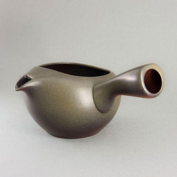 Teekanne (Kyusu) - offen grün mit Metallsieb