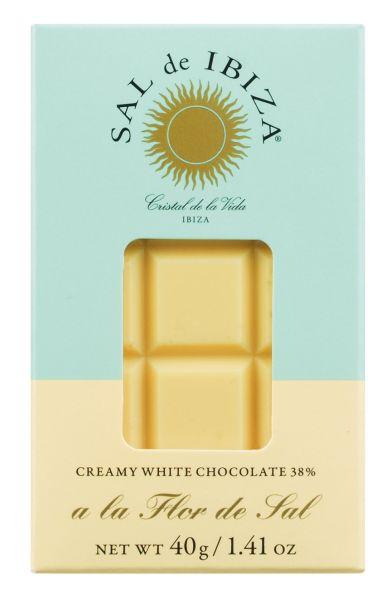 Bio Weiße Schokolade 38 % mit Fleur de Sel Sal de Ibiza