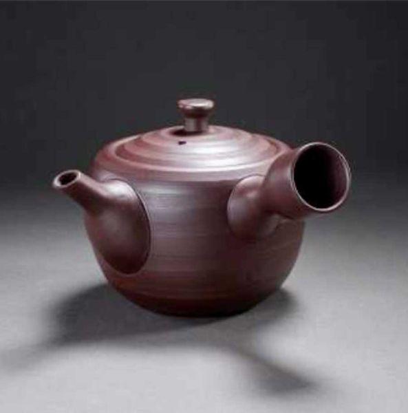 Teekanne (Kyusu) - braun geriffelt mit Metallsieb aus Banko (Mie)