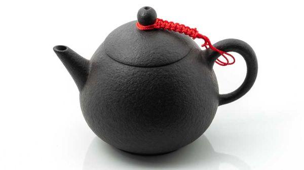 Oolong- und Pu Er-Kännchen handgemacht mit Tonsieb 200 ml - schwarz