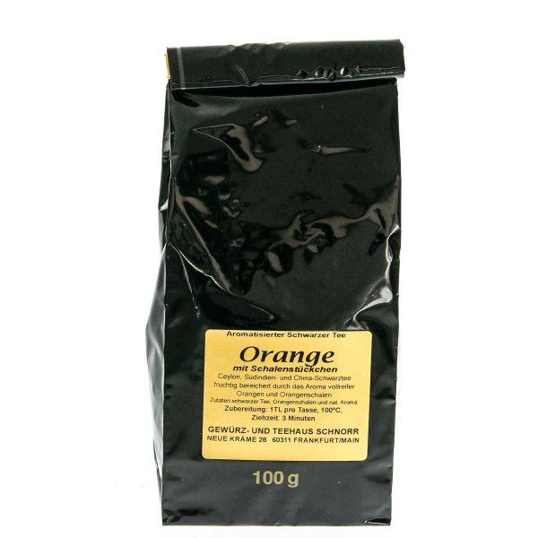 Schwarztee Orange mit Schalenstückchen